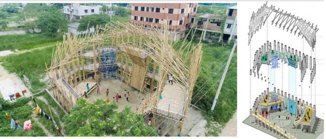 An aerial view of the playspace showing how the bamboo was constructed.