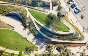 Aerial view of Tongva Park showing accessible walkways throughout.