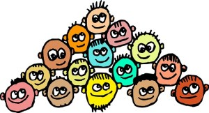 A hand-drawn graphic with faces of bright colours with big eyes. They are grouped in a bunch.