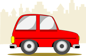 Graphic of a little red car depicting an automated driverless vehicle.