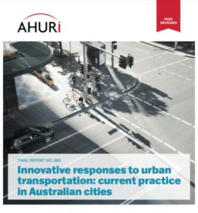 Front cover of AHURI report on urban transportation.
