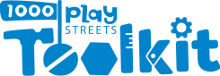 Blue and white logo for the 1000 Play Streets Toolkit.