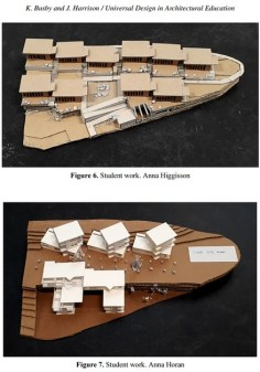 Two student models of a housing development incorporating universal design.