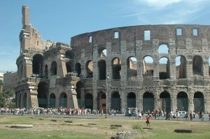 Roman Colosseum heritage site. Customer to customer experiences in inclusive tourism.