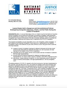 AILA y sus socios buscan detener las políticas que ponen en peligro a los abogados de inmigración, los clientes y al público durante la pandemia de COVID-19