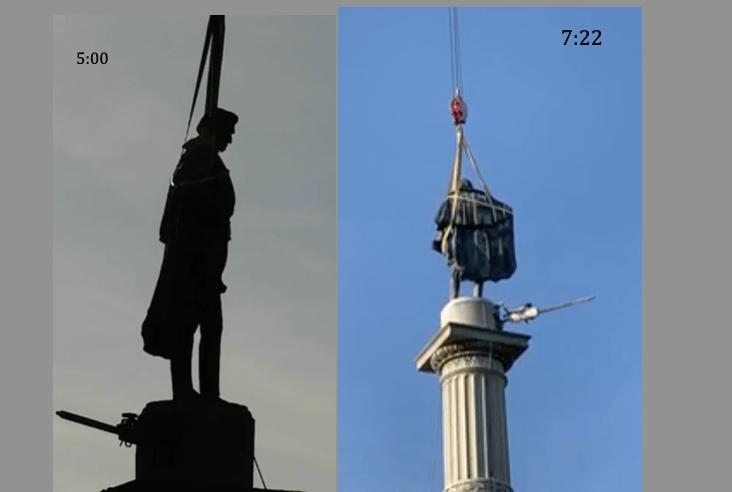 Retirando la estatua de John Calhoun del Marion Square