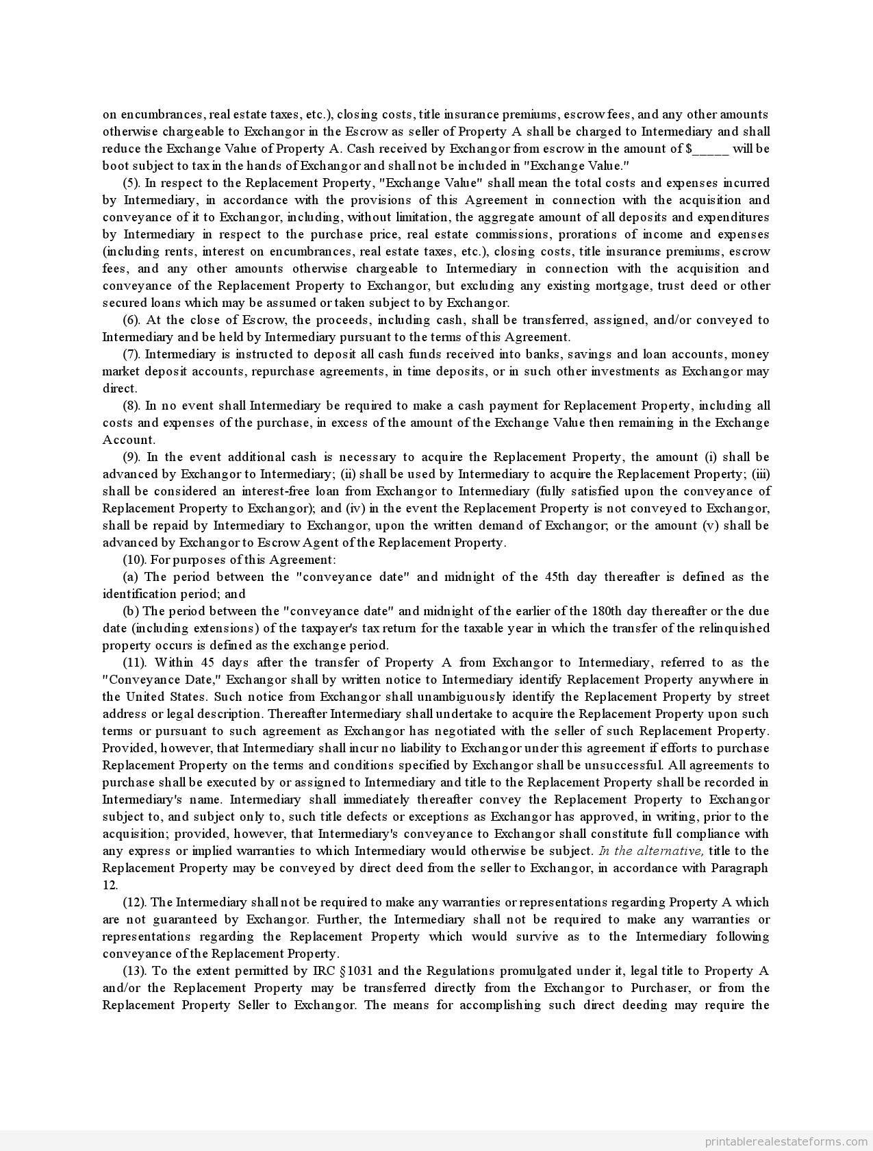 Exchange Agreement Form