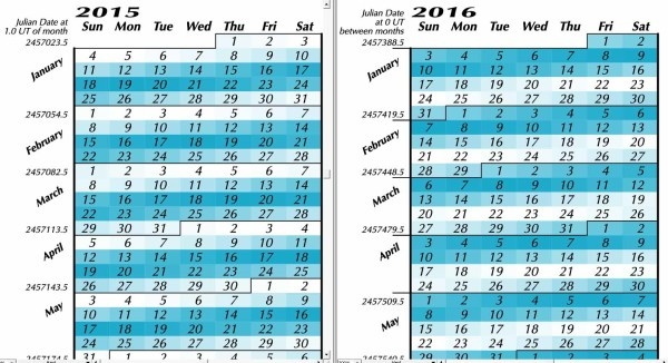 Comparative calendars of common year and leap year