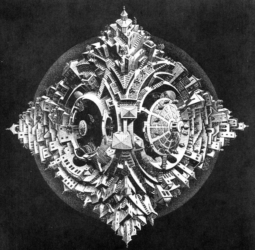 M.C. Escher, Tetrahedral Planetoid