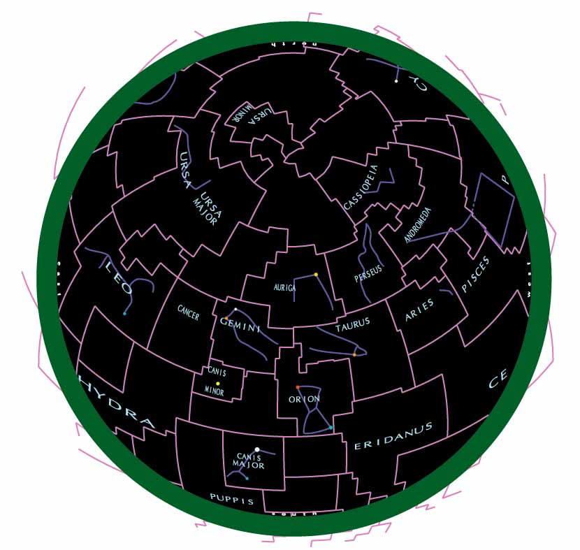 Sky chart on azimuthal equal-area projection