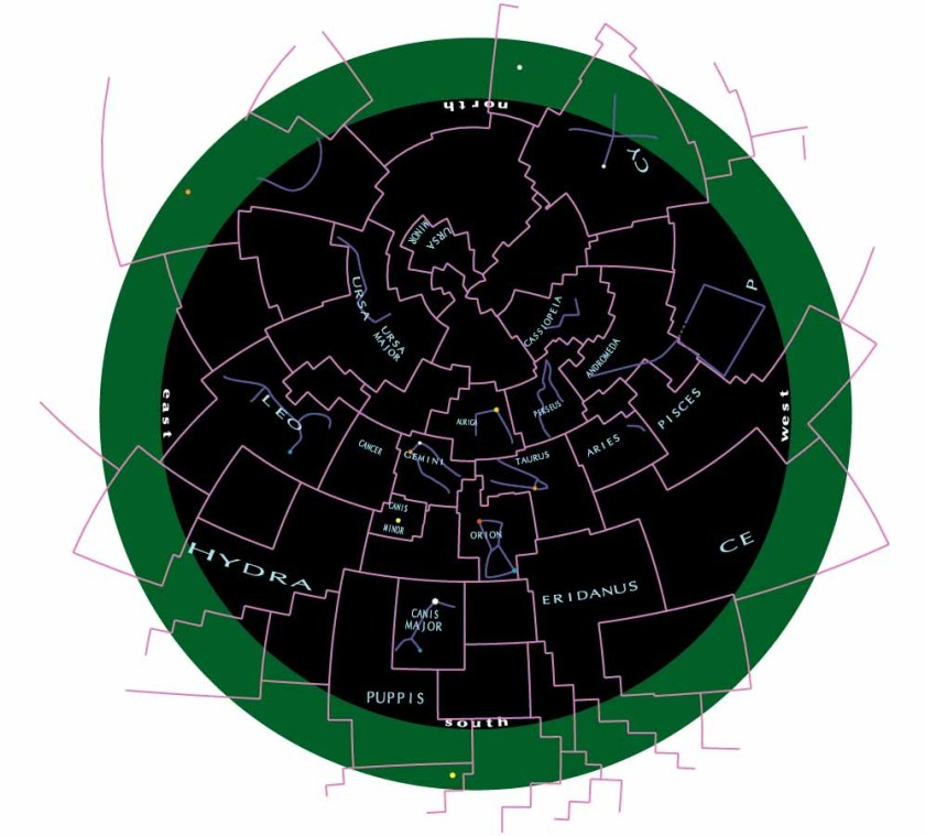 Sky chart on stereographic projection