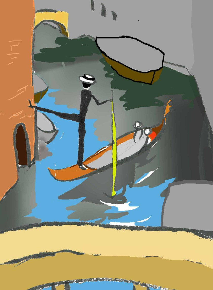 Gondolier kicking wall