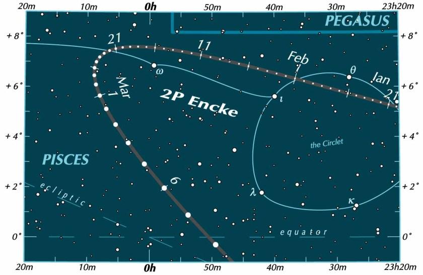 Comet 2P Encke finder chart
