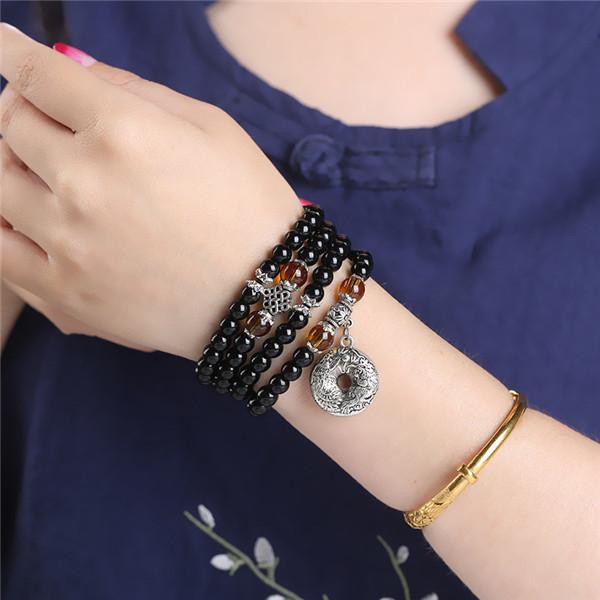 Bracelet de méditation Mâlâ 108 perles en Obsidienne et Œil de tigre