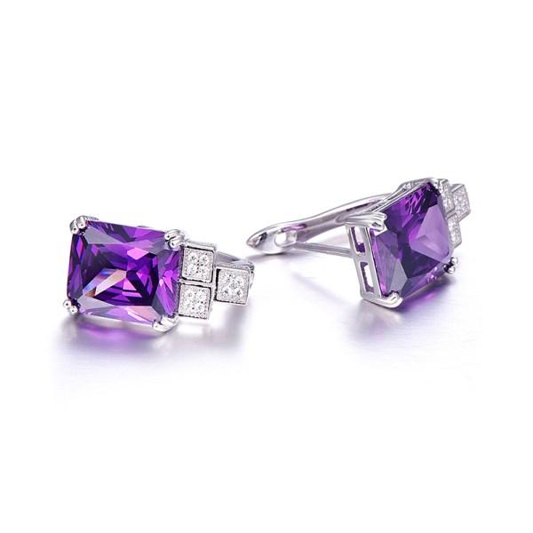 Violette : Boucles d'Oreilles argent 925 sertie d'une Améthyste