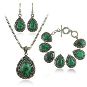 """Ensemble bijoux malachite modèle """"Amiel"""""""