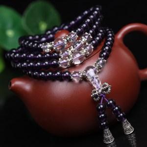 Bracelet mâlâ en perles d'améthyste Univers Esotérique