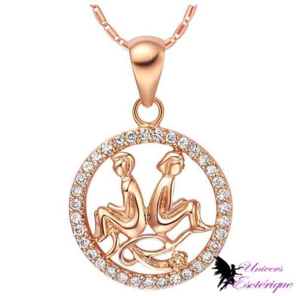 Magnifique collier signe astrologique Gémeaux plaqué or et cristal - Univers ésotérique