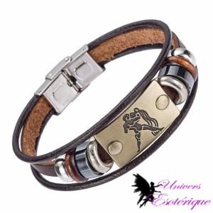 Bracelet signe astrologique verseau en cuir - Univers ésotérique