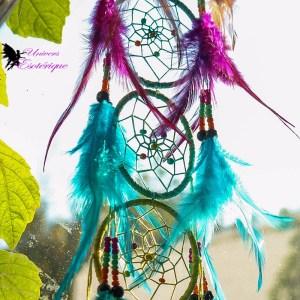 Attrape-rêves Harmonie des 7 chakras en plumes, capteur de reves, dreamcatcher, - Boutique Univers ésotérique