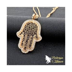 Long Collier plaqué or avec pendentif porte-bonheur (main de Fatima, cercle du destin, hibou de la sagesse, coeur de l'amour, étoile de la divination - Boutique Univers ésotérique