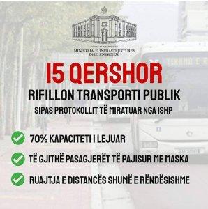 Me 15 Qershor rifillon transporti publik