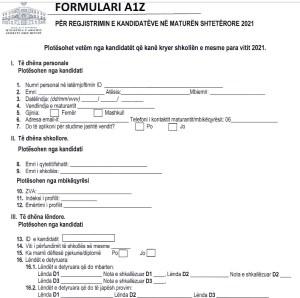Udhezues per plotesimin e formularit A1/A1z per Maturen Shteterore 2021