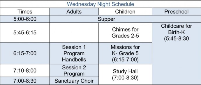 2013 Wednesday Night Schedule table