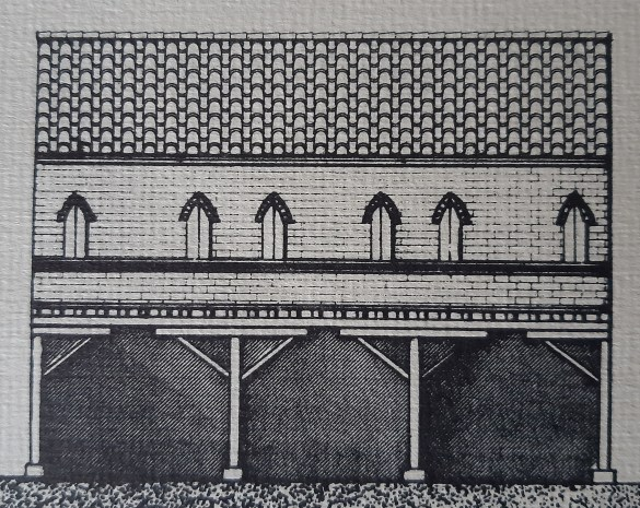 Medieval house with a wooden portico (drawing by the author)