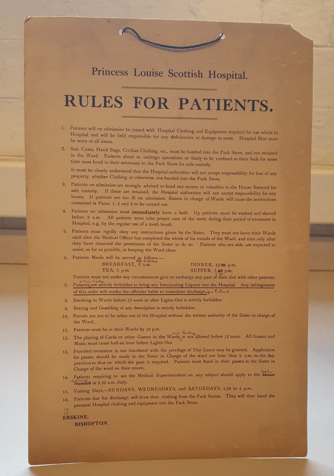 Rules for patients staying at Erskine Hospital.