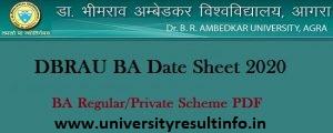 Agra University BA Date Sheet 2021