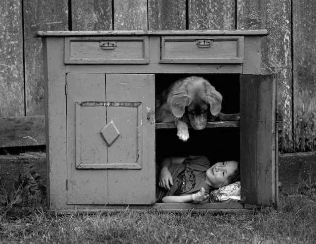 bambino nella cuccia cane