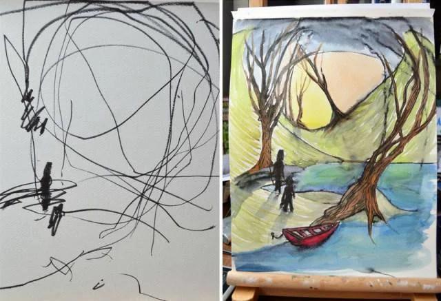 dipinto due figure nella natura