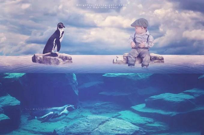 bimbo con pinguino
