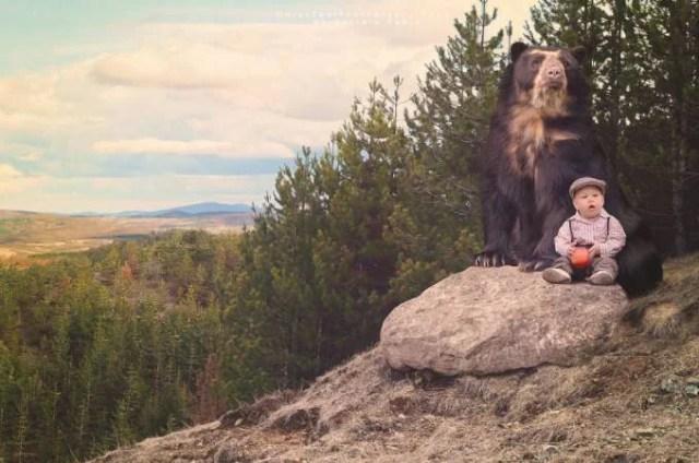 bimbo con orso bruno