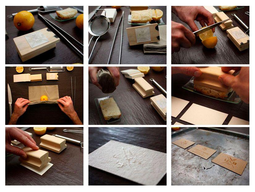 proceso tarjetas con tinta de limón