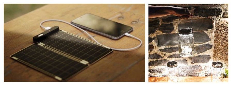 Cargador y luz solar. Regalo corporativo sostenible.