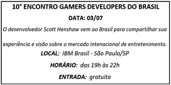03 ENCONTRO GAMERS - Agenda