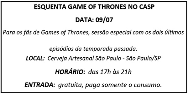 09 ESQUENTA GAME OF THRONES - Agenda