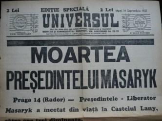 Ziarul Universul , editie speciala ,14 Sept. 1937 ;Moartea Presedintelui Masaryk 1