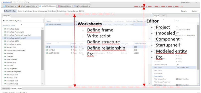 The editor is a collection of worksheets