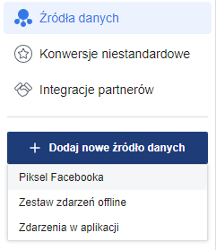 Źródła danych: piksel Facebooka