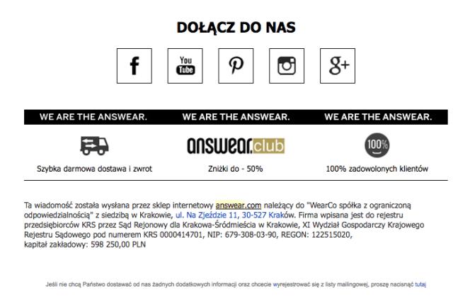 przykład stopki maila Answe