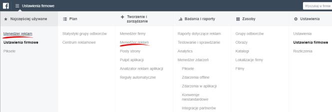 Menedżer reklam - menu Facebooka