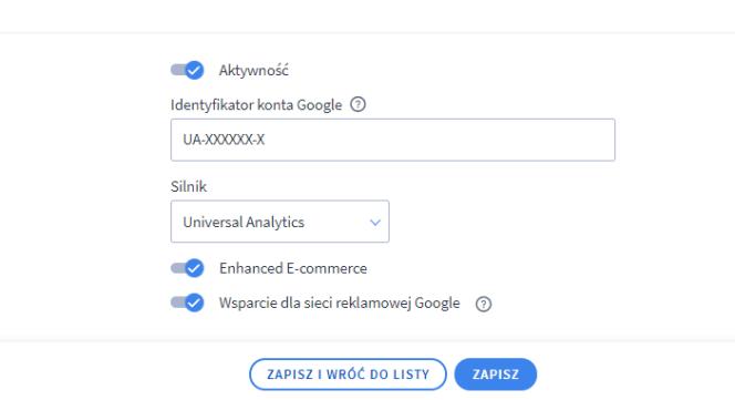 Analytics - aktywność