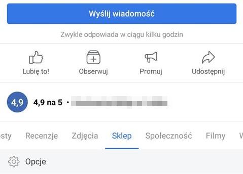 sklep w menu mobilnym FB