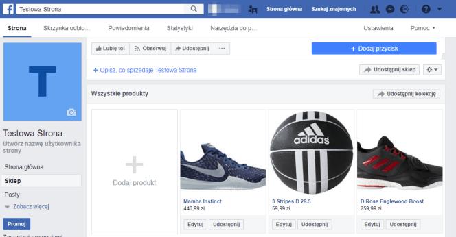 testowy sklep na Facebooku