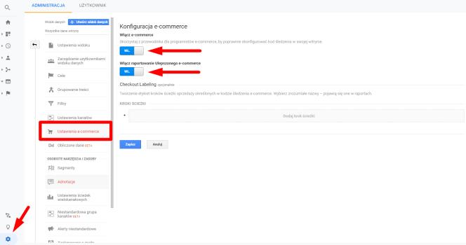 Ustawienia e-commerce w Google Analytics