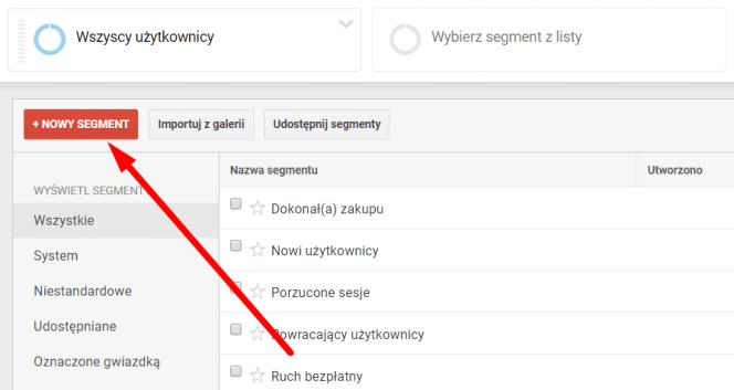 Nowy segment Google Analytics