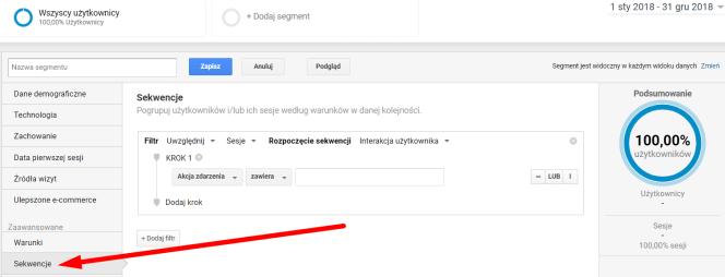 Sekwencje w Google Analytics